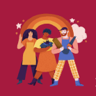 Illustration of three Etsy sellers standing in front of a rainbow on a dark red background