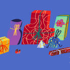 Illustration of presents wrapped with wrapping paper and ribbons on a blue background
