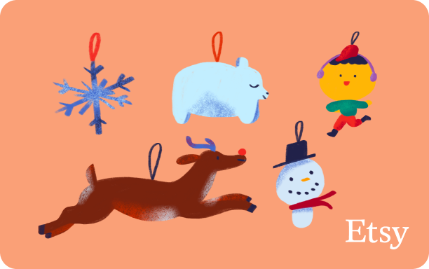 Illustration of assorted holiday ornaments on a light orange background