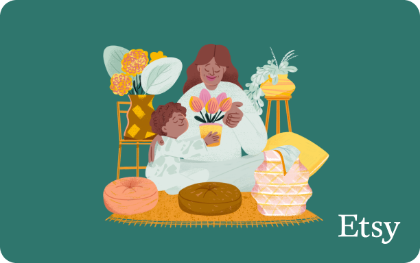 Illustration of a child giving an adult a pot of flowers, surrounded by cozy furniture and plants, on a green background