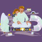 Illustration of a child and an adult playing with a toy train set, on a dark purple background