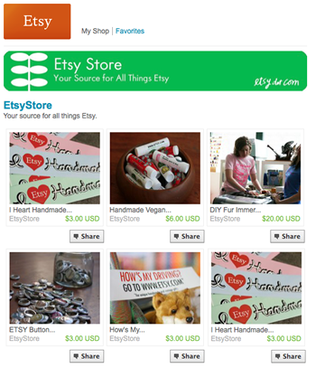 My etsy on facebook